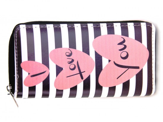 Pink Hearts Black White Stripe Zipper Wallet