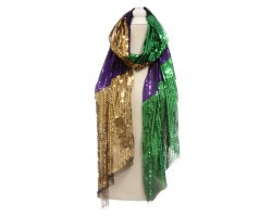 Mardi Gras Sequin Oblong Scarf