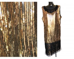 Black Gold Sequin Fringed Oblong Scarf