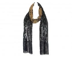 Black Gold Sequin Fringed Oblong Scarf