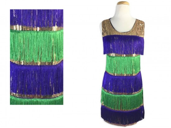 Mardi Gras Stripe Pattern Sequin Flapper Dress