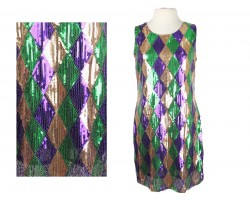 Mardi Gras Diamond Pattern Sequin Dress