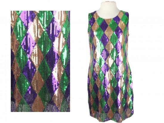 Mardi Gras Diamond Pattern Sequin Dress