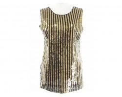 Black Gold Stripe Pattern Sequin Top