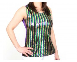 Mardi Gras Stripe Pattern Sequin Top