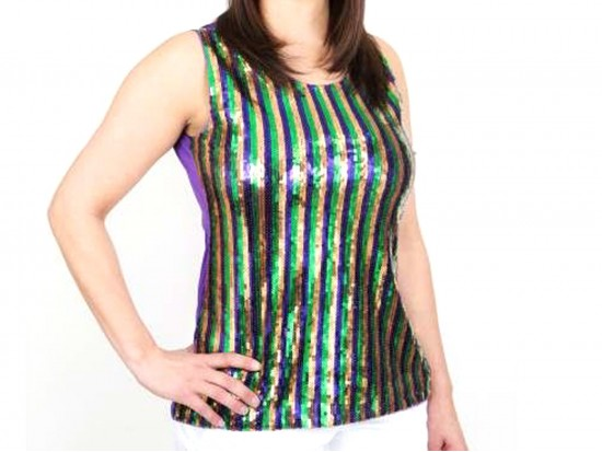 Mardi Gras Stripe Pattern Sequin Top