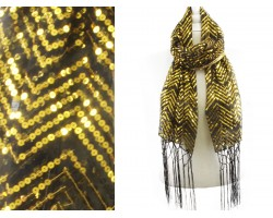 Black Gold Sequin Chevron Fringe Oblong Scarf