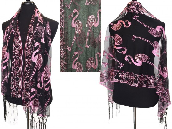 Pink Sequin Flamingo Fringe Oblong Scarf
