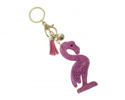 Pink Flamingo Tassel Puffy Keychain
