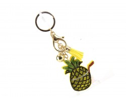 Pineapple Drink Tassel Puffy Keychain