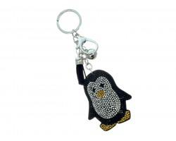 Black Penguin Crystal Puffy Tassel Keychain