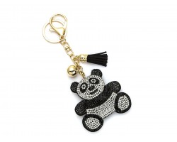 Black Panda Bear Crystal Tassel Puffy Keychain