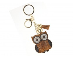 Brown Owl Crystal Tassel Puffy Keychain