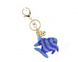Blue Crystal Fish Tassel Puffy Keychain