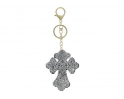 Clear Crystal Cross Tassel Puffy Keychain