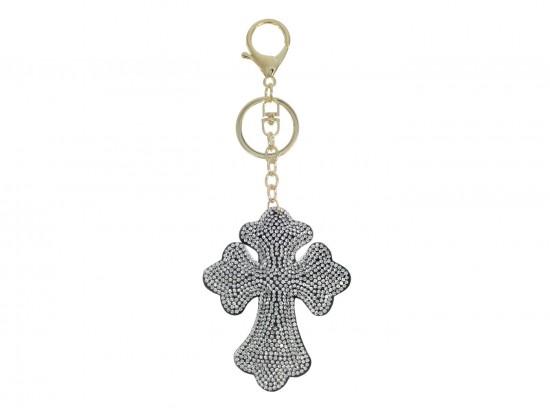 Clear Crystal Cross Tassel Puffy Keychain