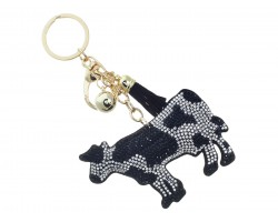 Black Crystal Cow Tassel Puff Keychain