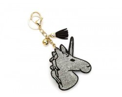 Clear Crystal Unicorn Tassel Puffy Keychain