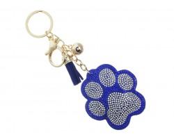 Blue Crystal Paw Print Tassel Puffy Keychain