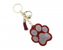 Red Crystal Paw Print Tassel Puffy Keychain