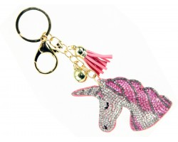 Pink Unicorn Crystal Tassel Puff Keychain