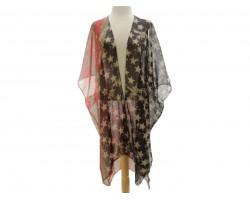 USA Flag Distress Theme Kimono