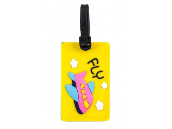 Yellow Fly Airplane Silicon Luggage Tag