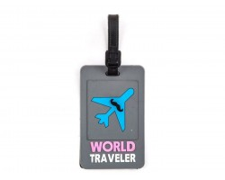 Gray Airplane World Traveler Silicon Luggage Tag