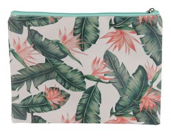 Green Plant Fern Print Vinyl Zipper Bag