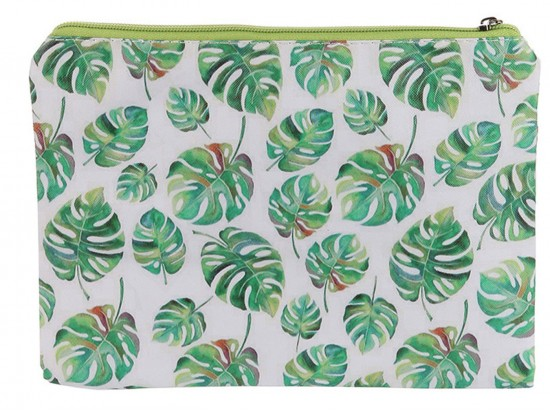 Green Leaf Fern Print Vinyl Zipper Bag