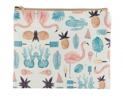 Flamingo Pineapple Cactus Print Vinyl Zipper Bag