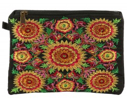 Multi Floral Embroidery Fabric Zipper Bag