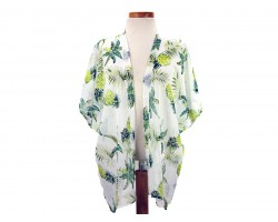 White Pineapple Tropical Theme Kimono