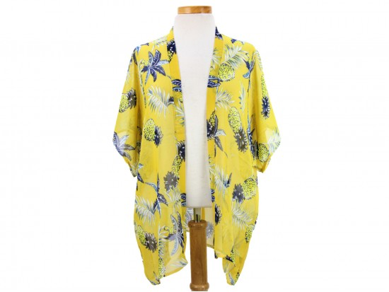 Yellow Pineapple Tropical Theme Kimono