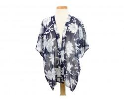 Navy Blue Floral Pattern Kimono