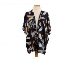 Black Feather Pattern Kimono