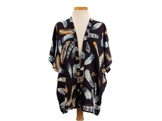 Black Feather Pattern Kimono
