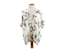 White Feather Pattern Kimono