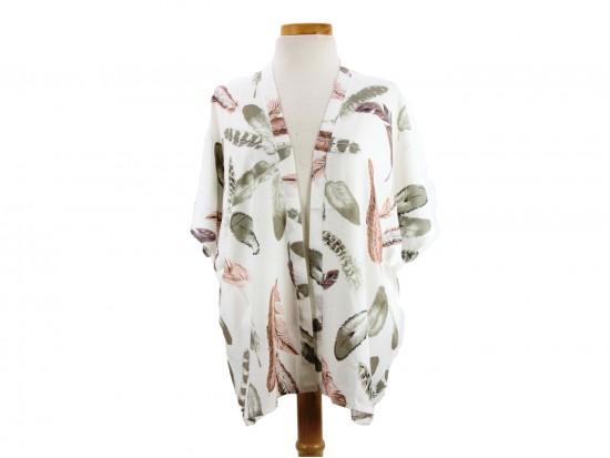 White Feather Pattern Kimono