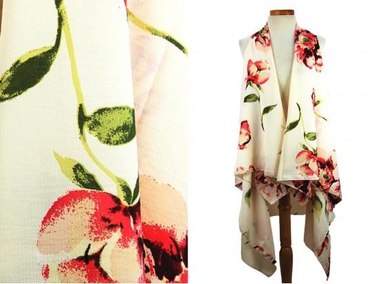 White Pink Roses Pattern Sleeveless Cardigan