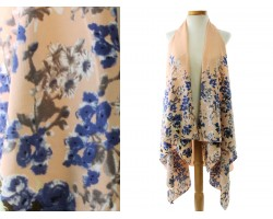 Beige Floral Pattern Sleeveless Cardigan