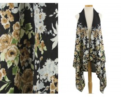 Black Floral Pattern Sleeveless Cardigan