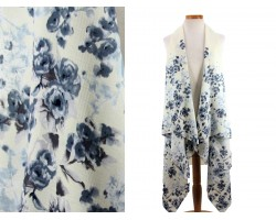 White Floral Pattern Sleeveless Cardigan
