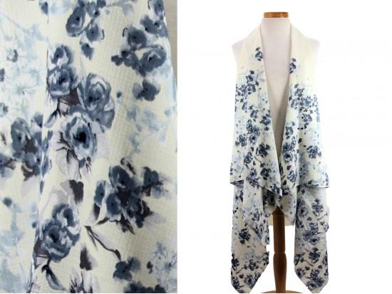 White Floral Pattern Sleeveless Cardigan