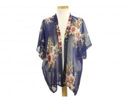 Navy Rose Flower Pattern Kimono