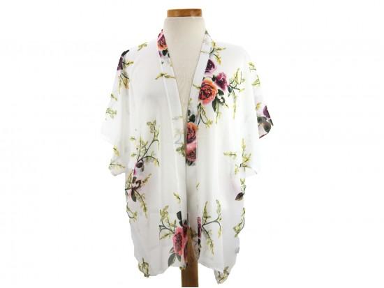 White Rose Flower Pattern Kimono