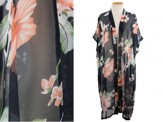 Black Hibiscus Flower Pattern Long Kimono