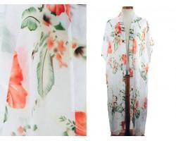 White Hibiscus Flower Pattern Long Kimono