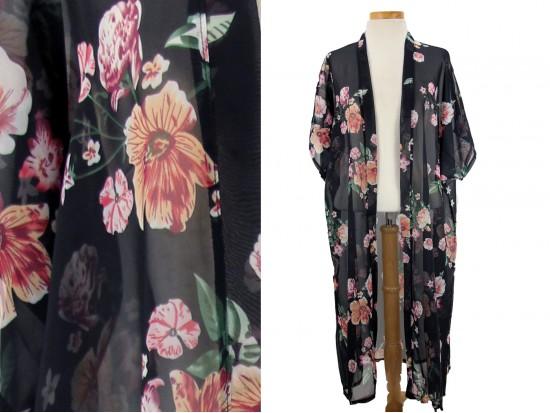 Black Flower Pattern Long Kimono