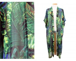 Black Green Tropical Leaves Pattern Long Kimono